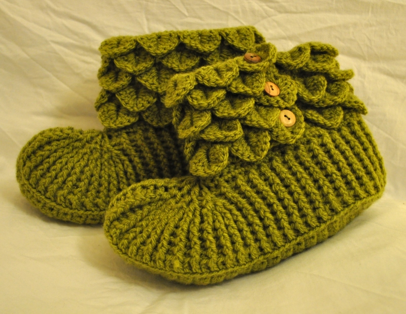 Green Wool Blend Slippers
