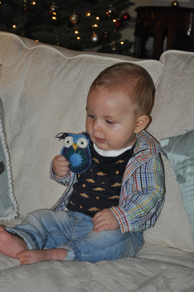 Cousin's baby, Artie, with a crochet owl