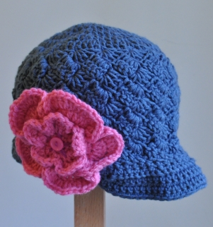 Pageboy Hat with Flower Brooch