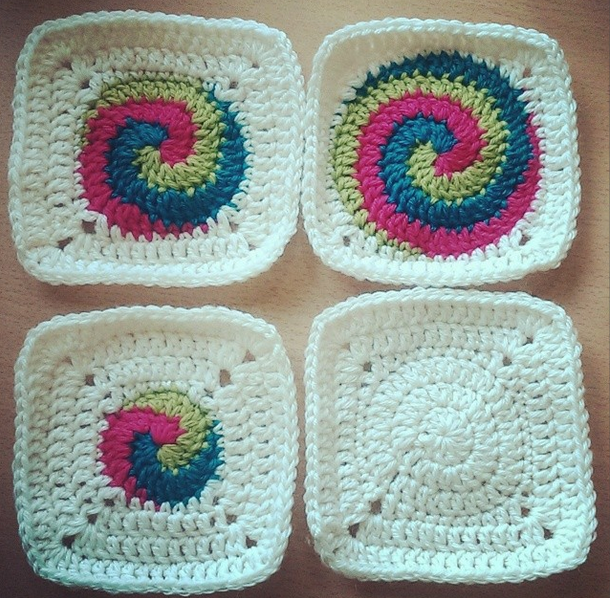 Free Crochet Pattern Spiral Granny Square : FREE PATTERN for Spiral Squares Josie Calvert Briggs
